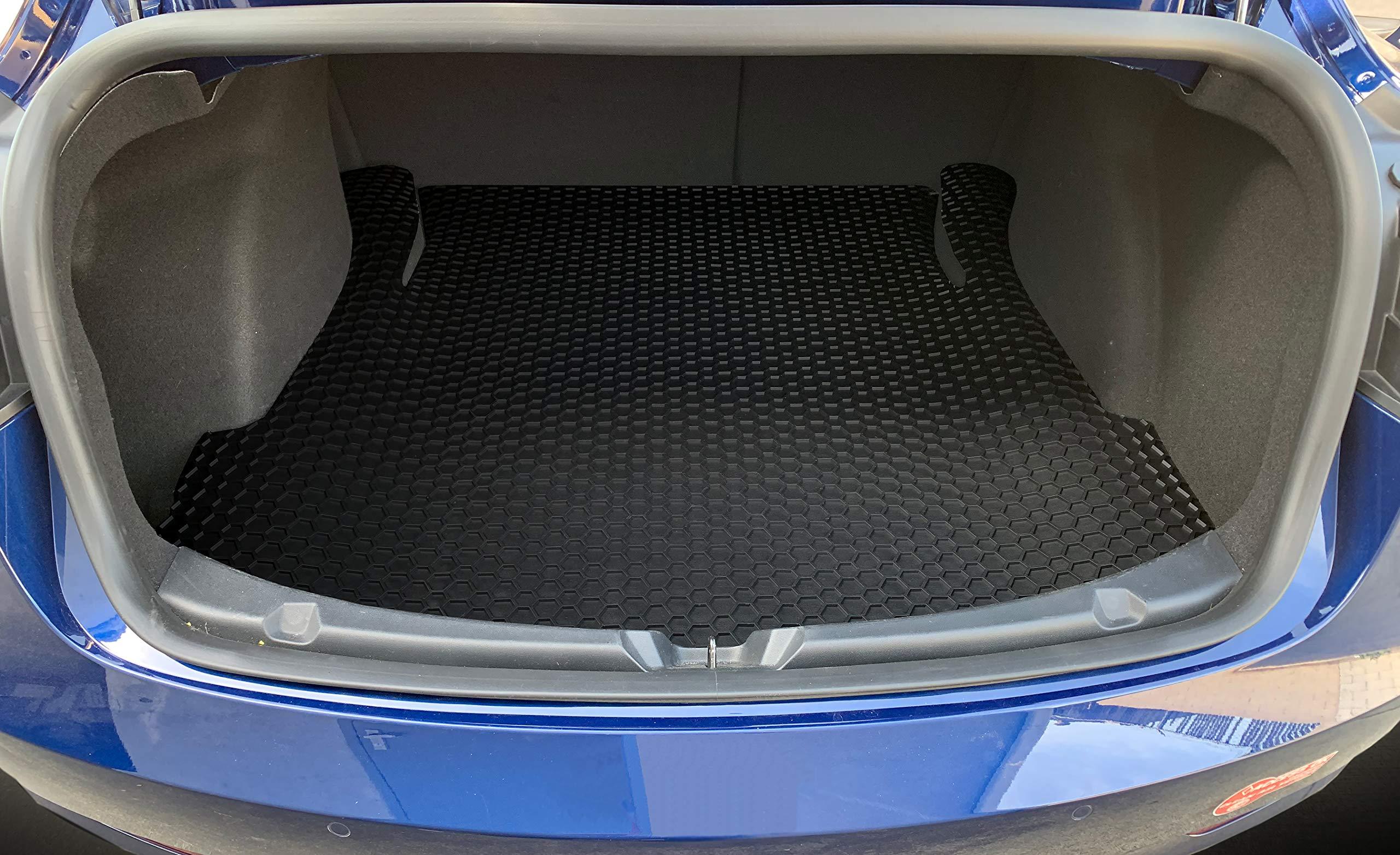 ToughPRO Tesla Model 3 Floor Mats Set - Frunk Mat - Trunk Mat- Storage Mat - All Weather - Heavy Duty - Black Rubber - (Made in The USA) - 2019 by ToughPRO (Image #4)