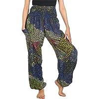Lofbaz Women's Colourful Peacock Printed Boho Pants