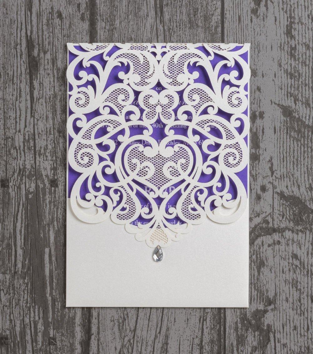 Singular Luxury Diamante Lace Laser Cut Pocketfold Printed Wedding ...