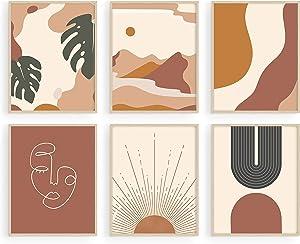 Haus and Hues Boho Prints Neutral Wall Art - Set of 6 Boho Art Prints Mid Century Modern Wall Art | Boho Prints Wall Art Boho Home Decor Boho Print for Wall Boho Wall Decor | UNFRAMED (11x14)