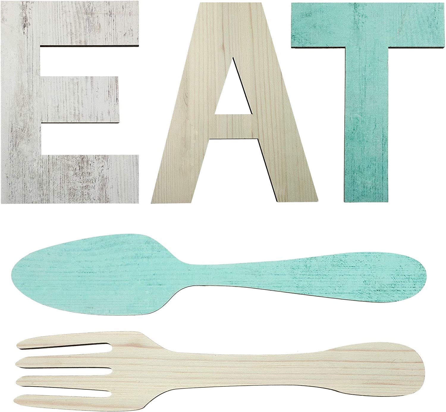 Set of EAT Sign, Fork and Spoon Wall Decor, Rustic Wood Eat Decoration, Cute Eat Letters for Kitchen and Home, Decorative Hanging Wooden Letters, Country Wall Art, Dining Room (Classic Color)