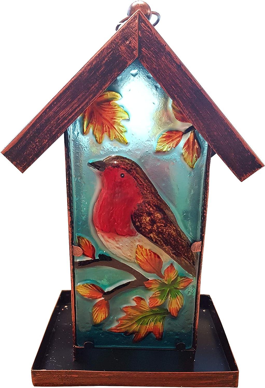 Fountasia - Comedero Solar para pájaros (Metal y Cristal), diseño de petirrojo: Amazon.es: Jardín