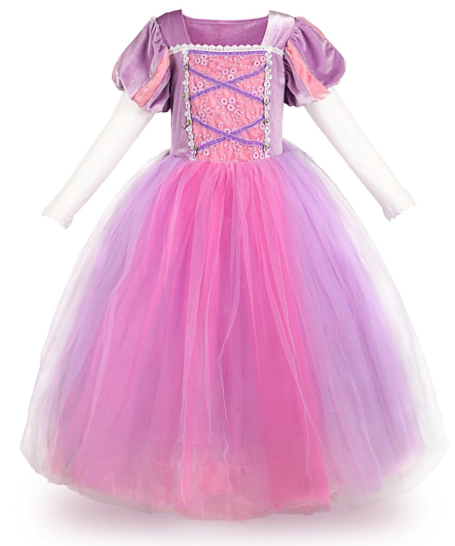JerrisApparel Princess Rapunzel Mesh Long Sleeve Costume Girls Party Dress (7, Purple)