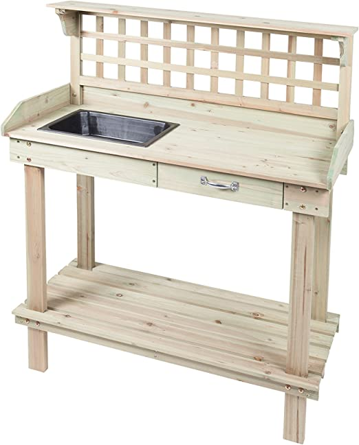 Lakewood 3 Person Swing, Premium Wooden Gardening Potting Bench With Sink And Drawer Unit Amazon Co Uk Garden Outdoors