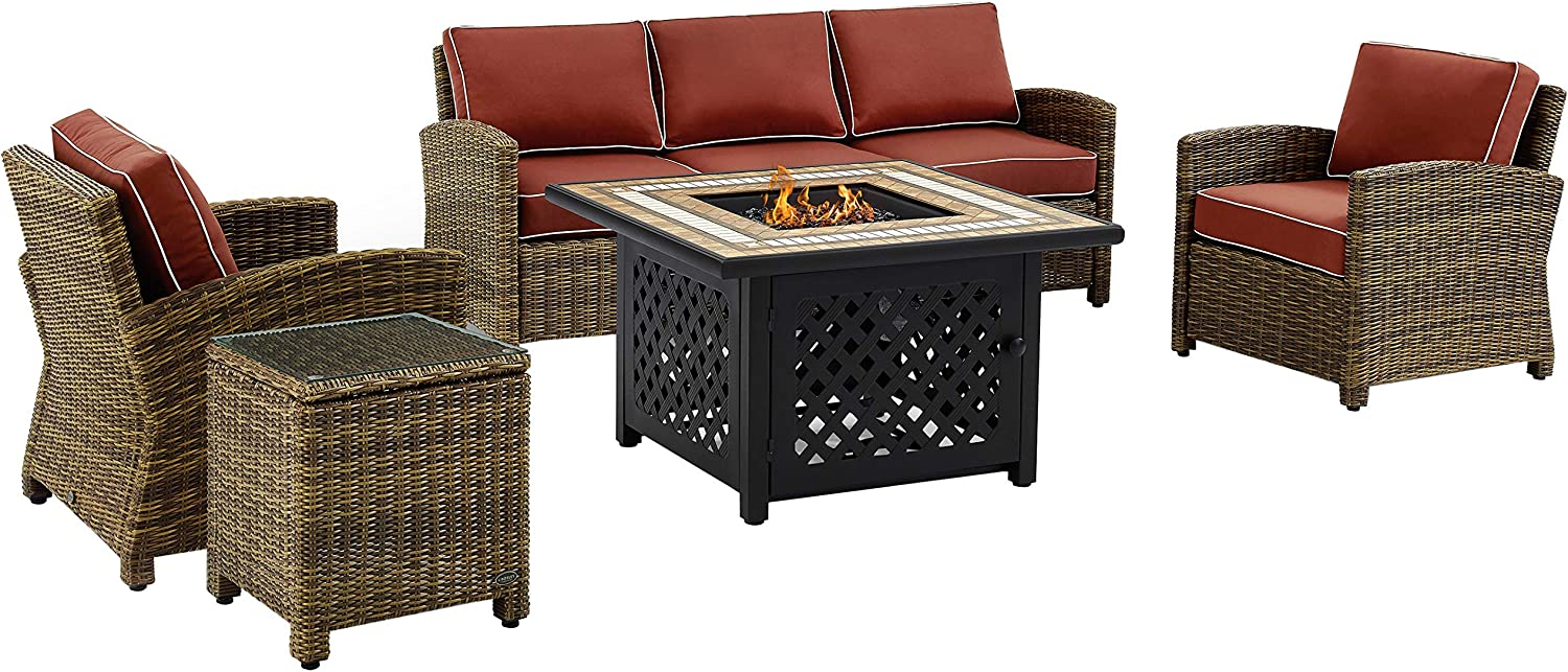Crosley Furniture KO70163-SG Bradenton Outdoor Wicker 5-Piece Seating Set (Sofa, 2 Arm Chairs, Side, Fire-Table), Brown with Sangria Cushions