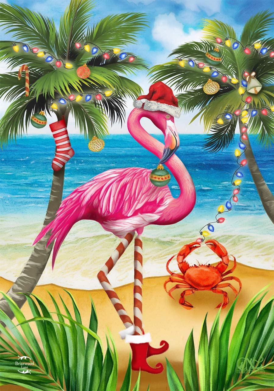 "Briarwood Lane Christmas in Paradise Flamingo House Flag Tropical Beach 28""x40"""