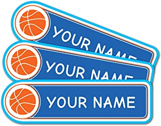 product image for Personalized Custom Multi-Use Labels, Waterproof, Dishwasher and Microwave Safe, Basketball (42 Pack)