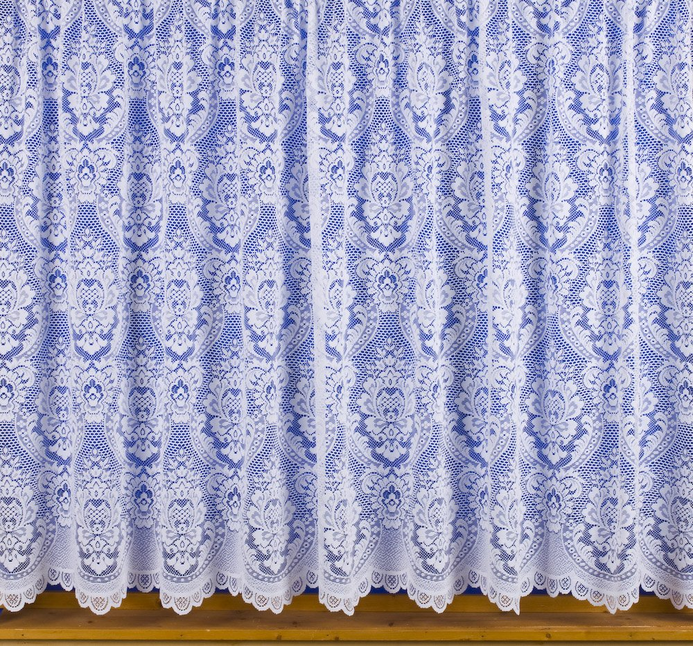 Kent White Net Curtain 48122cm Drop In Luxury Victorian Lace Effect