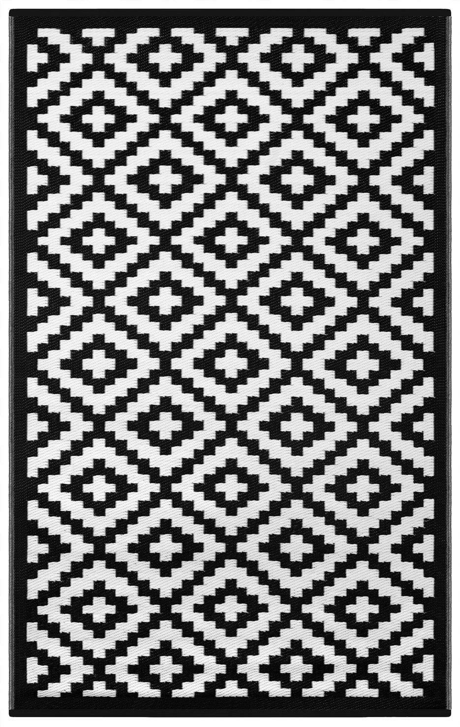 Grün Decore 150 x 240 cm Wendbarer Öko-Teppich aus recyceltem Kunststoff (Plastik) für Innen und Außen Federleicht, Schwarz Weiß