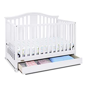 Amazon Com Graco Solano 4 In 1 Convertible Crib With Drawer White Easily Converts To Toddler Bed Day Bed Or Full Bed Three Position Adjustable Height Mattress Some Assembly Required Mattress Not Included