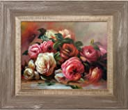 La Pastiche RN2850-FR-837578X10 Discarded Roses with Miramar Distressed Charcoal Grey Framed Hand Painted Oil Reproduction,