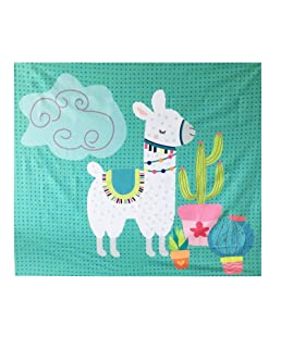 Geepro Llama Cactus Decor Wall Hangings Tapestry Bedroom Velvet Wall Blanket for Kids 59 x 51 inches (Teal)