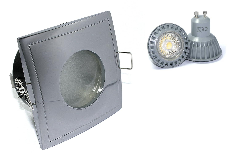 4er Set Einbaustrahler Aquarus-S Eckig 230V IP65 Farbe  Chrom 5W Power LED Daylight Dimmbar = 50W Halogenlampe