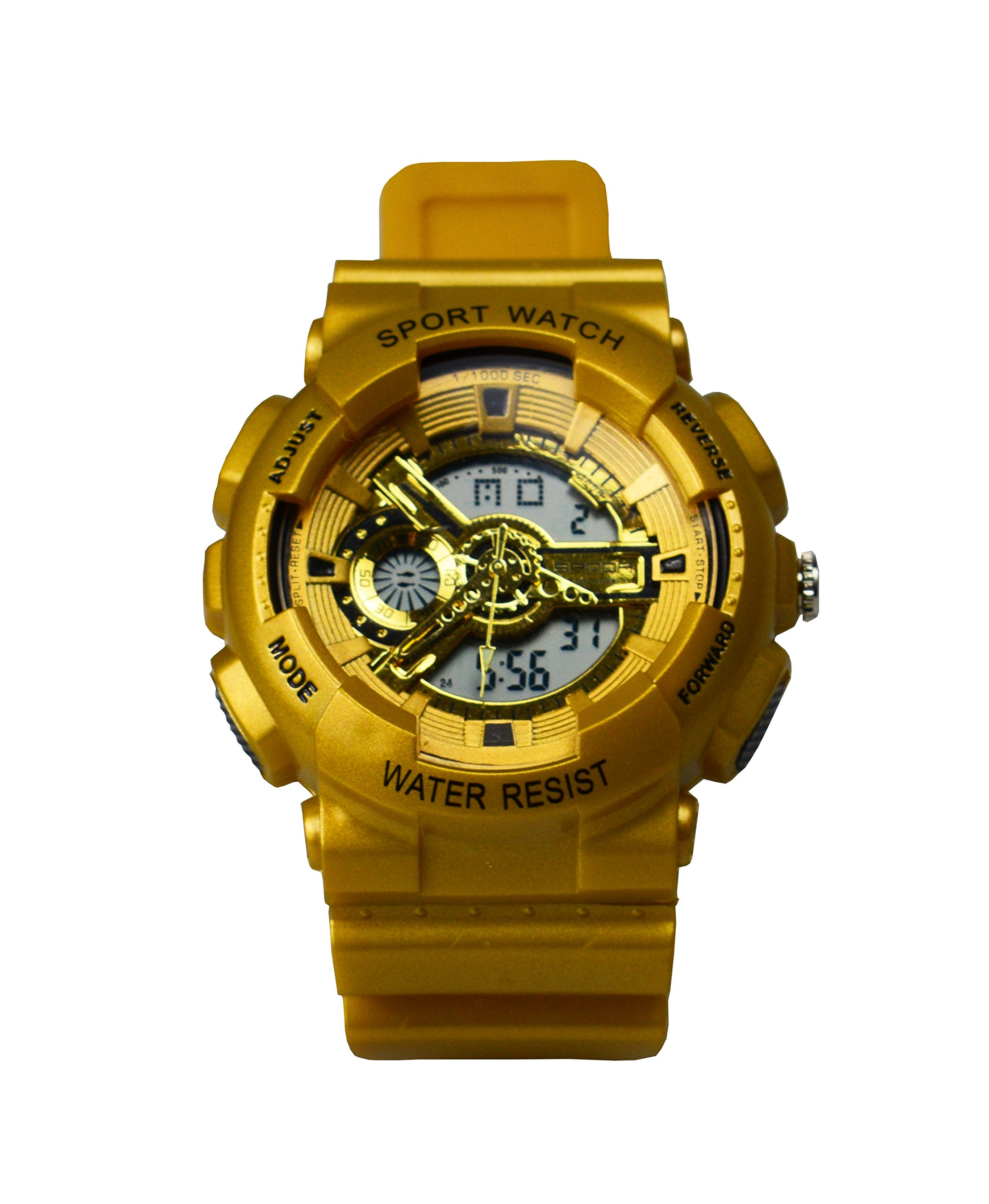 Juniors Boys Girls (Above 7 Years Old) 5ATM Military Digital Unusual Analog Quartz Dual Time Watches,Stopwatch Chronograph Alarm , Chronograph ,EL backlight,Chime Gold