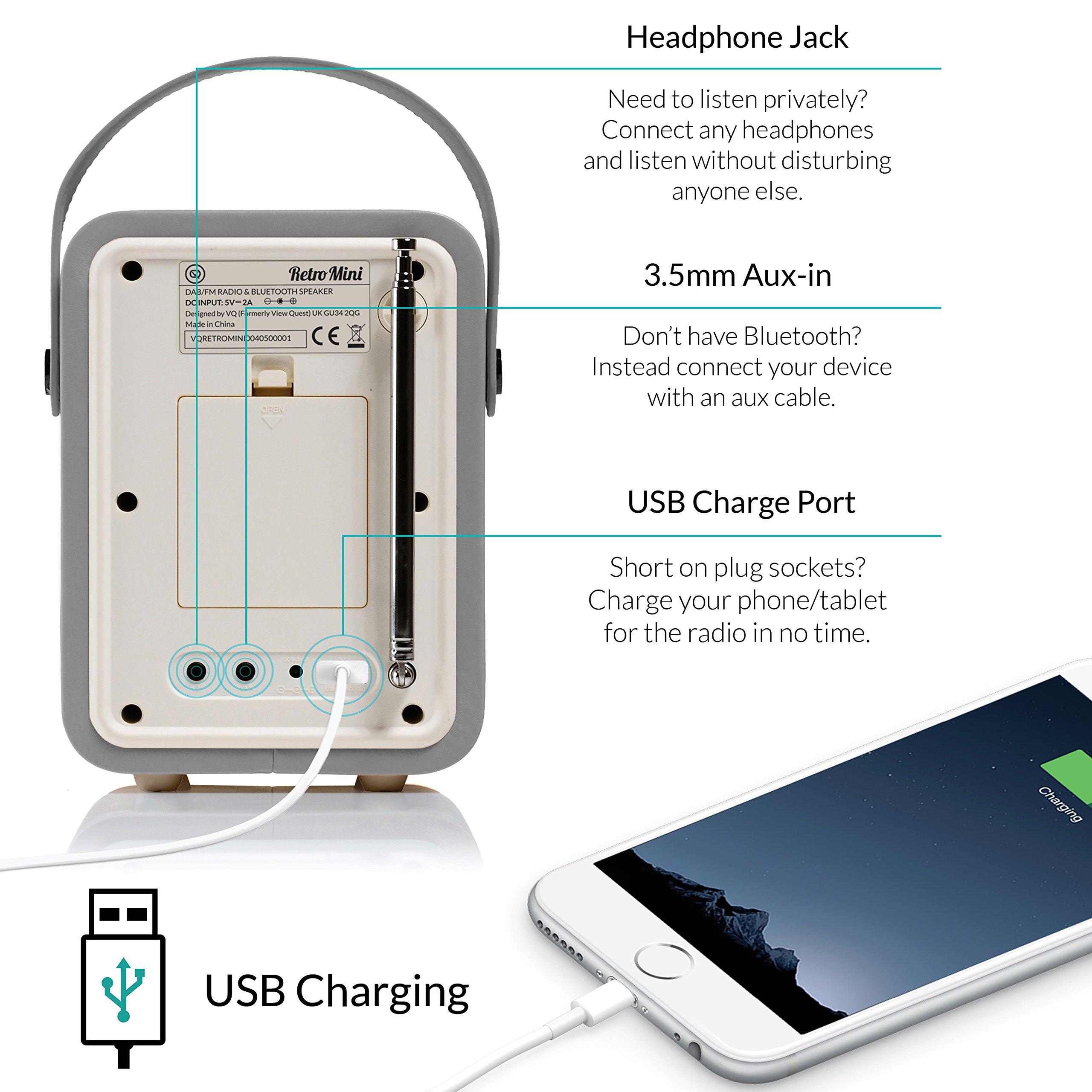 Retro Mini by VQ   Radio & Bluetooth Speaker with AM/FM & HD Radio, Dual Alarm Clock Mains or Battery – Premium PU Leather Case Light Grey by VQ (Image #6)