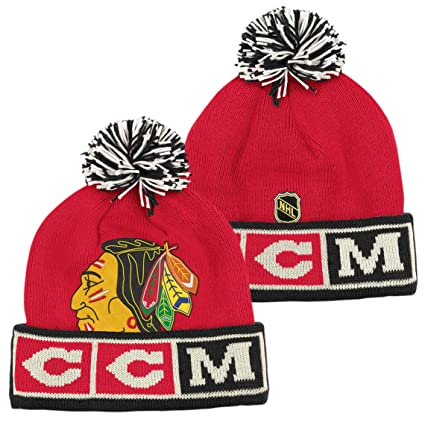Image Unavailable. Image not available for. Color  Chicago Blackhawks CCM  Vintage NHL Cuffed Pom Knit Hat 3bd3e6ad690