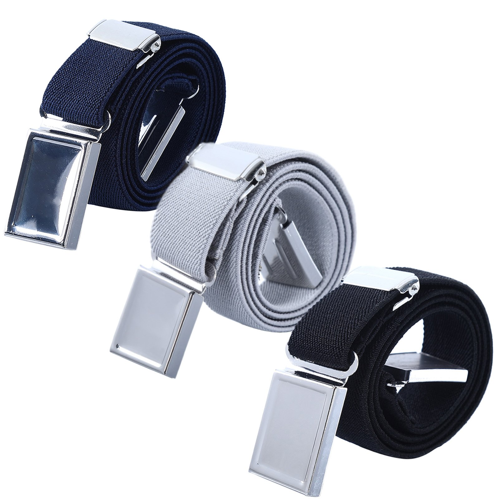 Boy Kids Magnetic Buckle Belt - Adjustable Elastic Children's Belts for Girls, 3 Pieces (Navy blue/Gray/Black)