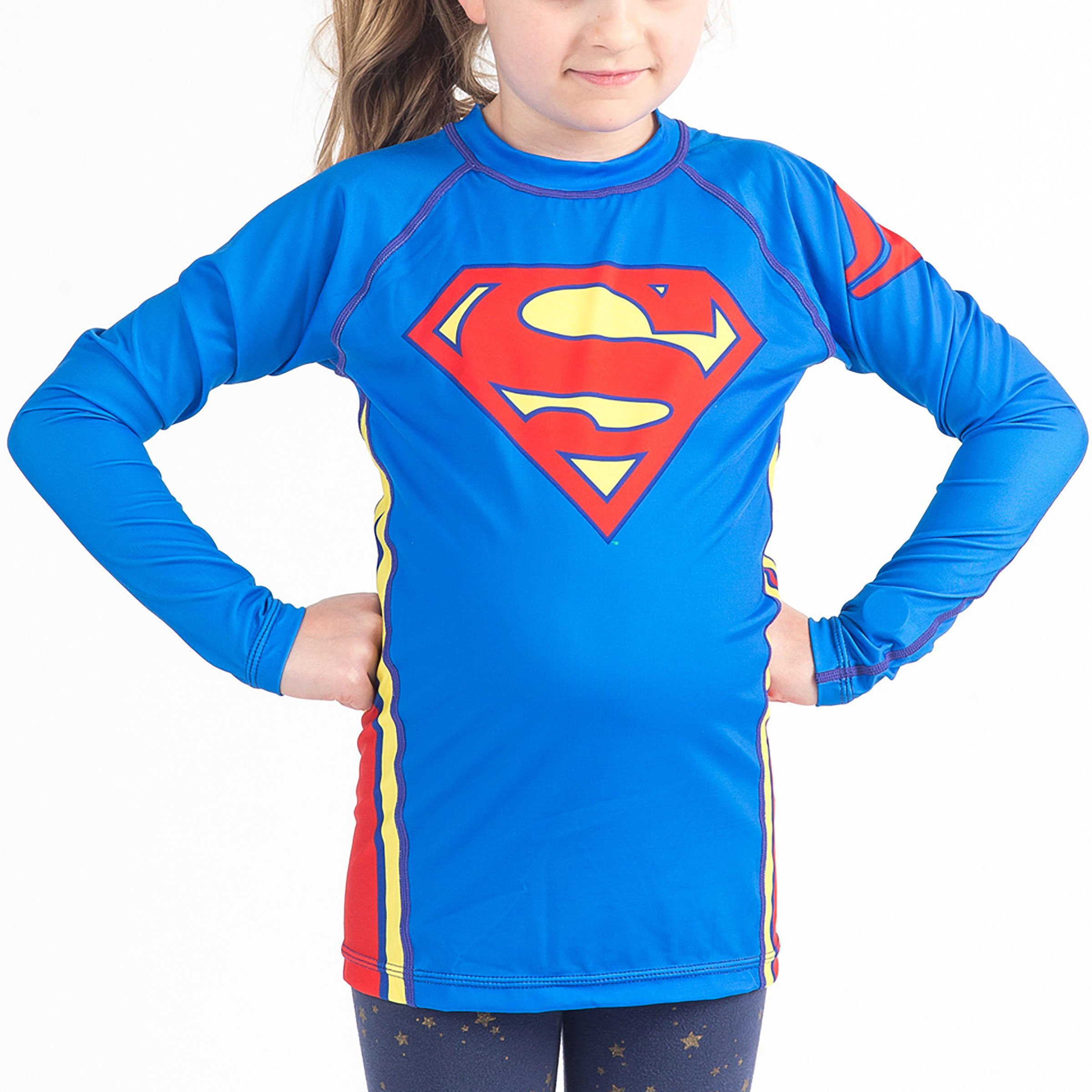Fusion Superman Logo Kids Rash Guard Compression Shirt -Long Sleeve (Large) by Fusion Fight Gear