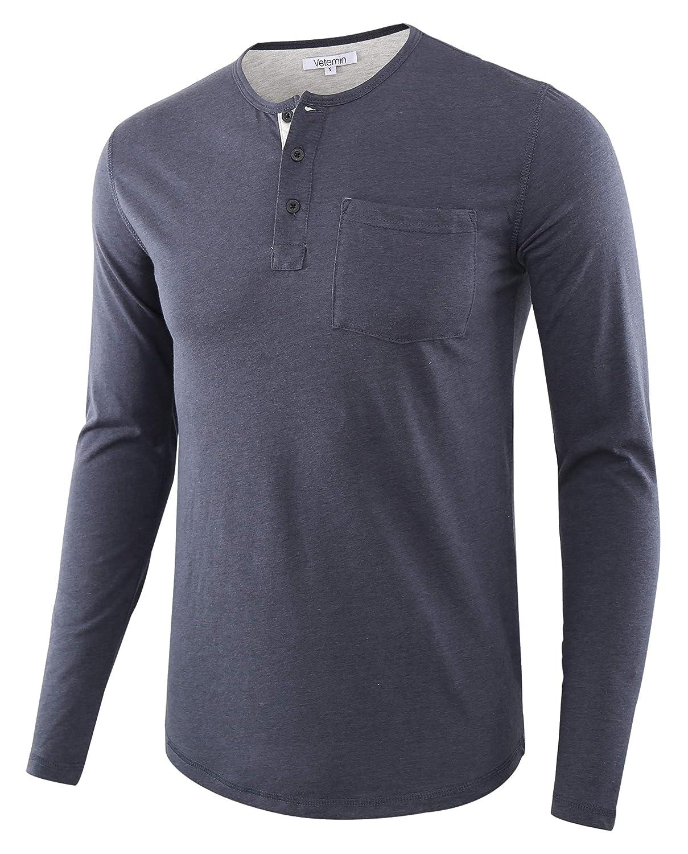 Vetemin Mens Casual Regular Fit Long Sleeve Sport Knit Pocket Active Tee Shirt