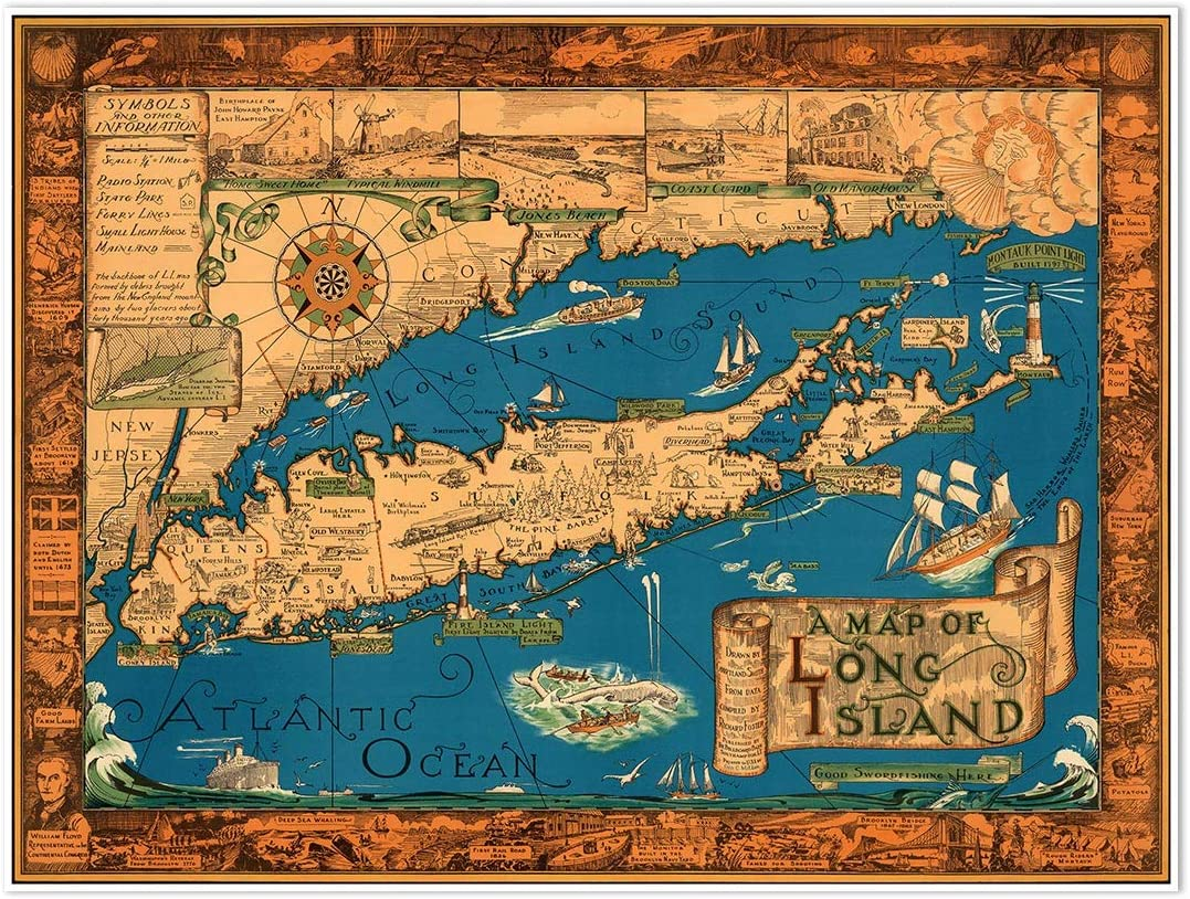Antiguos Maps Beautiful Picture Map of Long Island, New York (18 in x 24 in)