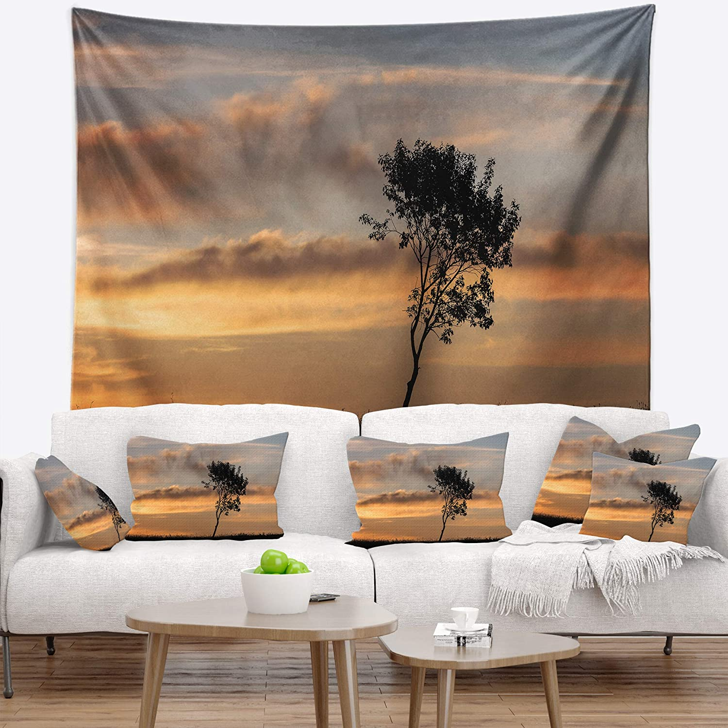 Designart TAP9995-60-50  Lonely Tree Silhouette Rightwards Landscape Blanket D/écor Art for Home and Office Wall Tapestry Large Created On Lightweight Polyester Fabric x 50 in 60 in