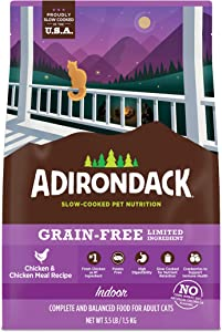 Adirondack Cat Food Made in USA [Limited Ingredient Grain Free Cat Food], Indoor Cat Food Dry, Chicken and Chicken Meal Recipe, 3.5 lb. Bag