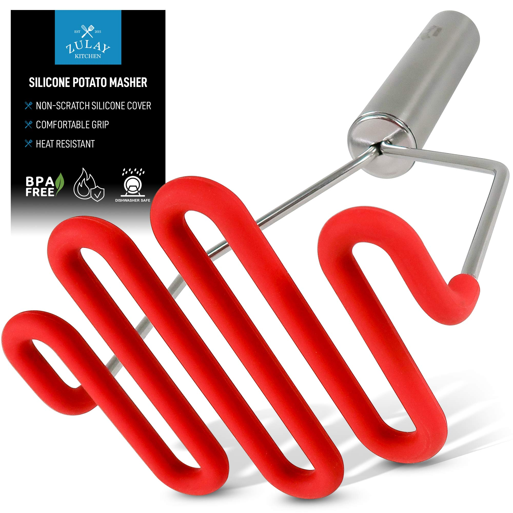 Zulay Potato Masher with Premium Silicone-Coated Stainless-Steel Design, Protects Non-Scratch Cookware for Smooth Mashed Potatoes, Vegetables and Fruits - Versatile Masher Hand Tool & Potato Smasher by Zulay Kitchen