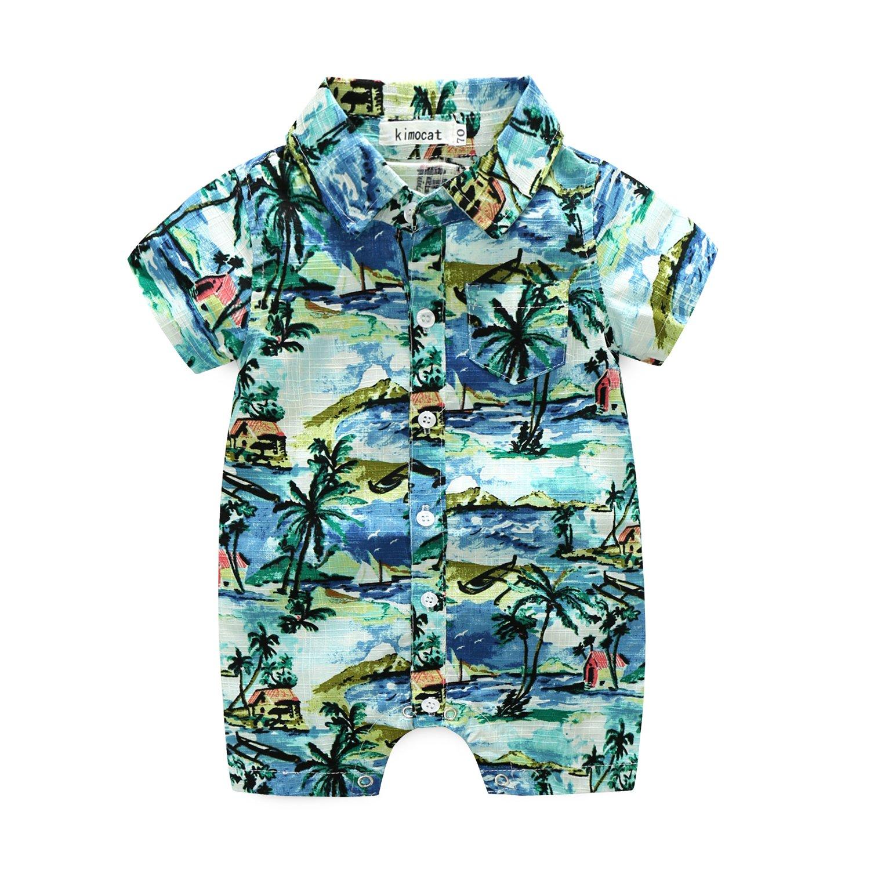 MHSH Newborn Baby Boys Short Sleeve Onesies Summer Printing Button-Down Polyester Casual Hawaiian Shirt Romper Outfits (12-18M, Blue)