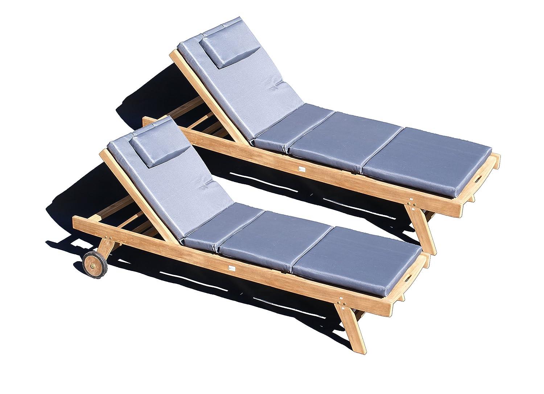 teakholz liege gartenliege sonnenliege 2 st ck auflage grau 4 g nstig bestellen. Black Bedroom Furniture Sets. Home Design Ideas