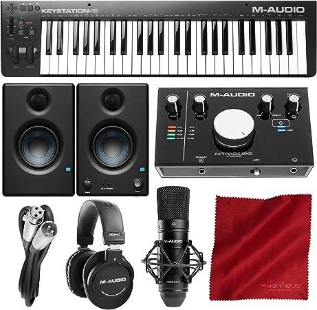 M-Audio Keystation 49 MK3 controlador de teclado MIDI compacto de 49 teclas alimentado por USB con M-Audio M-Track 2X2 Kit de producción de vocal ...