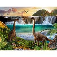 Fotobehang Dinosaurus Waterval- Vliesbehang Woonkamer Slaapkamer Kantoor Hal Decoratie Muurschilderingen XXL Moderne…
