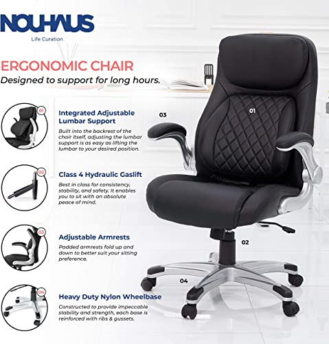 NOUHAUS Posture Ergonomic PU Leather Office Chair. Click5 Lumbar Support