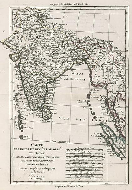 Carte De Linde Avec Le Gange.Amazon Com 1791 School Atlas Carte Des Indes En Deca Et Au Dela