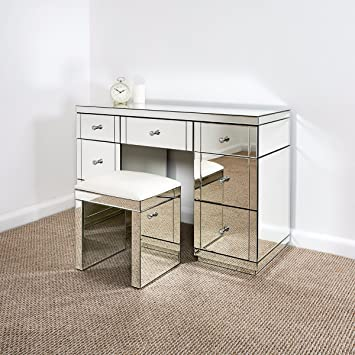 Attractive Mirrored Furniture Dressing Table Set With 1 X Stool In Silver