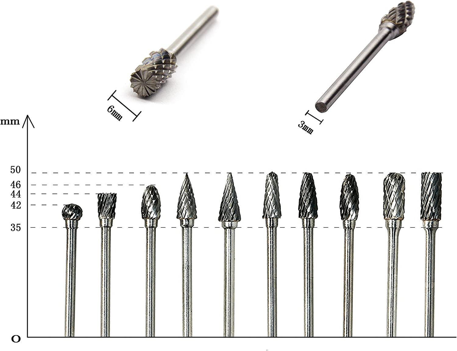 YXGOOD 10 Pieces Tungsten Carbide Double Cut Rotary Burr Set with 3 mm Shank and 6 mm 1//8 Inch 1//4 Inch Head Size