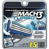 Gillette Mach3 Turbo Men's Razor Blade Refills, 15 Count