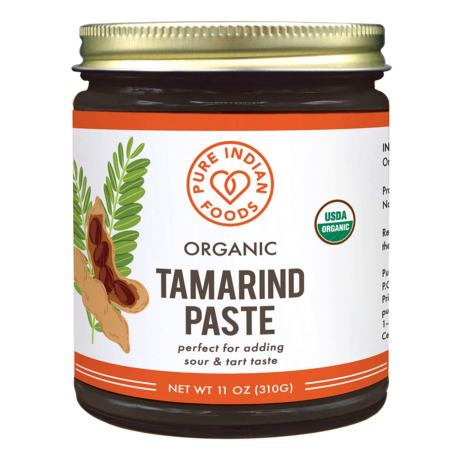 Pure Organic Tamarind Paste Concentrate - Sweet and Sour Sauce for Indian Chutney and Thai curry, Gluten Free, No Sugar Added, Glass Jar (1 PACK)
