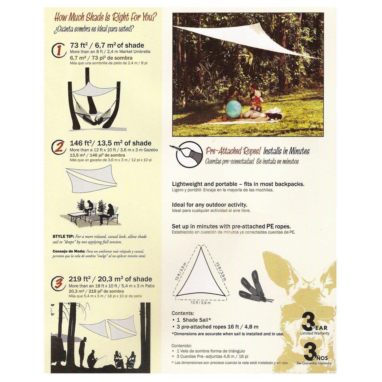 Amazon.com : Coolaroo Ready-to-hang Triangle Shade Sail Canopy, Red Terracotta, 13 Feet Triangle : Garden & Outdoor