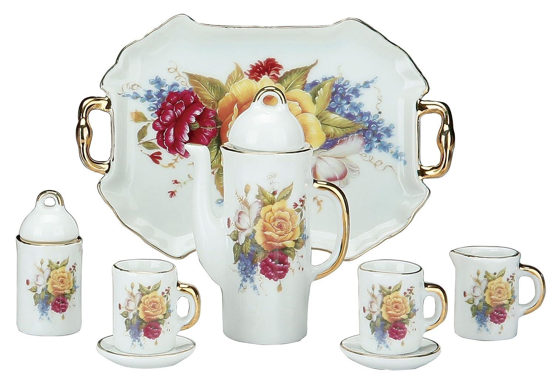 Miniature Collectible PEONIES (PEONY) Porcelain Tea Set: Teapot, Sugar Bowl, Creamer, 2 Teacups, Serving Platter Everspring