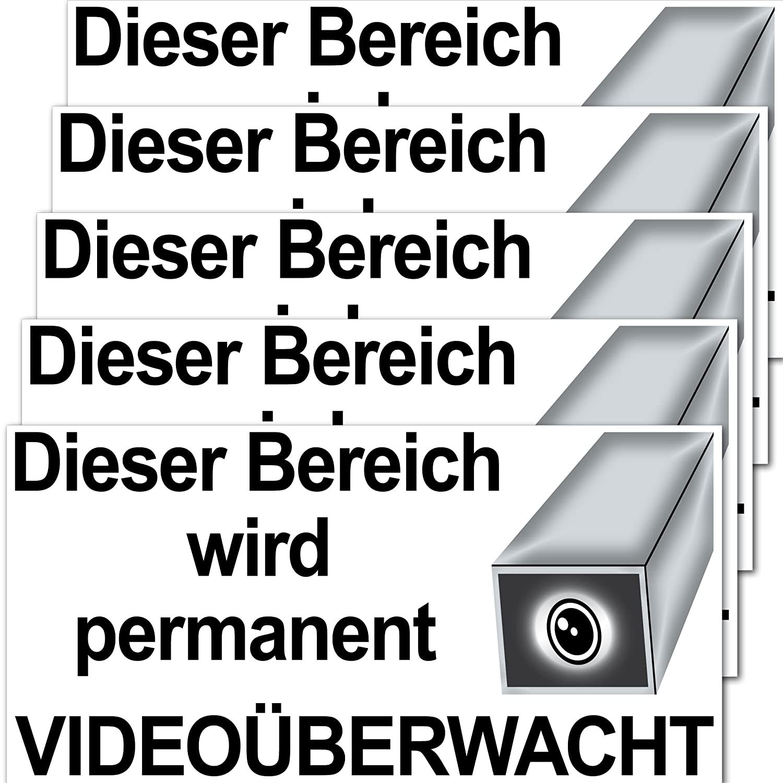 Aufkleber Sticker 20cm Dieser Bereich wird permanent Video Kamera überwacht Überwachung (5)