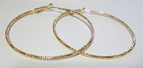 60mm Large Thick Etched Hoop Earrings In Gold Tone