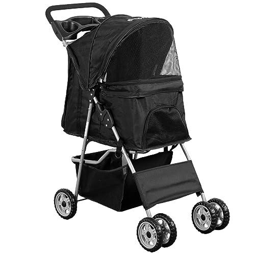 VIVO Black 4 Wheel Pet Stroller for Cat, Dog and More, Foldable Carrier Strolling Cart STROLR-V001K