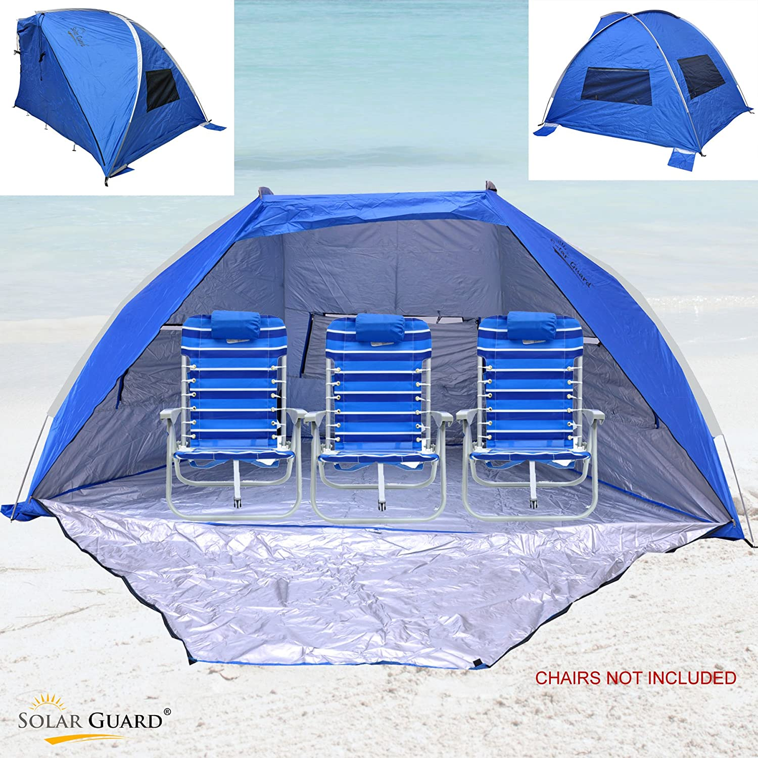 Solar Guard Jumbo Deluxe Beach Shelter with Ventilation Panels and Door best wind resistant beach tent