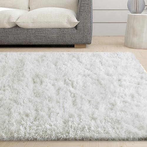 iCustomRug Cozy Soft White Faux Sheepskin Fur Shag Area Rug