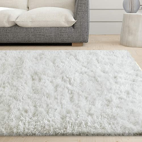 iCustomRug Cozy Soft White Faux Sheepskin Fur Shag Area Rug