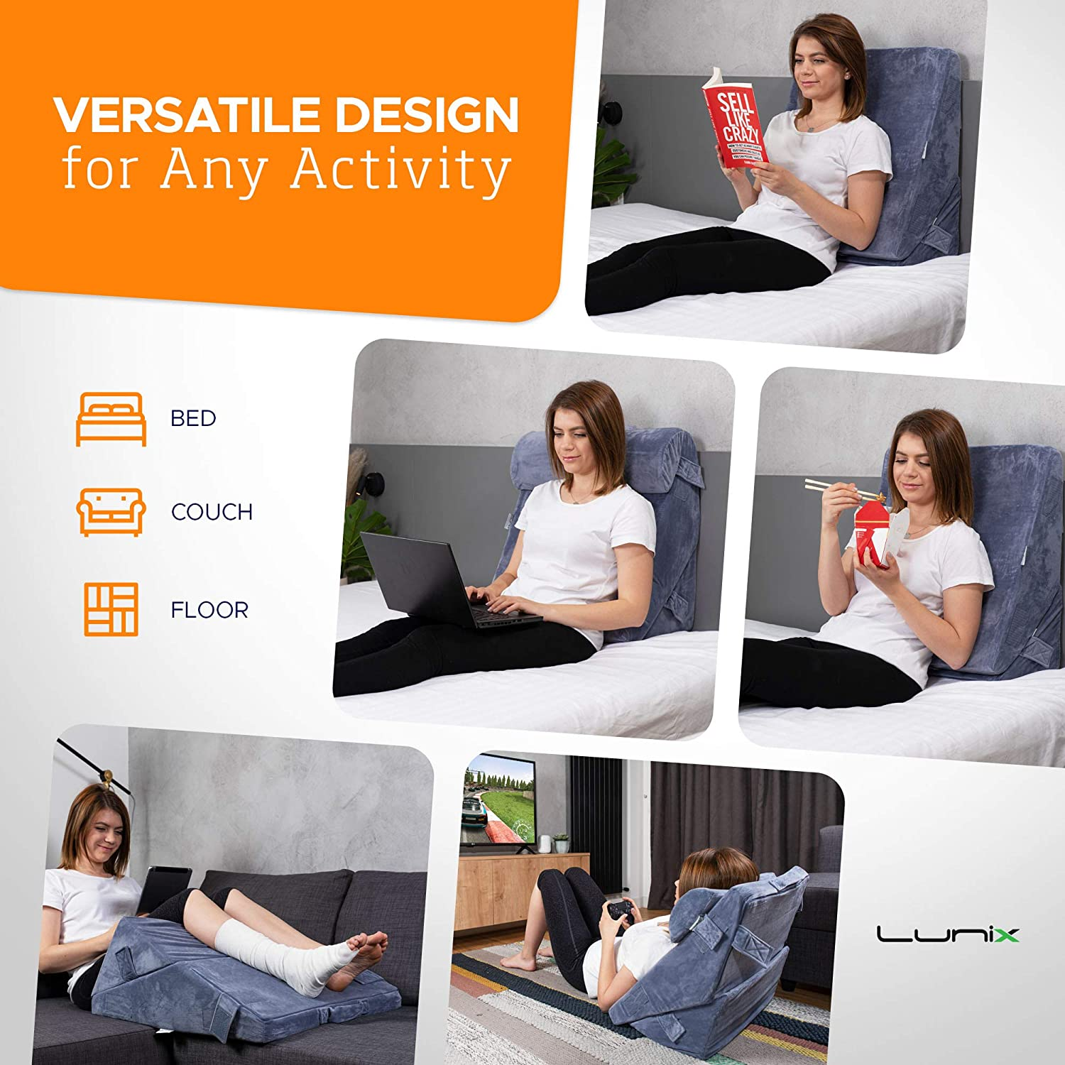 Versatile Orthopedic Bed Wedge Pillow for Sitting Up in Bed
