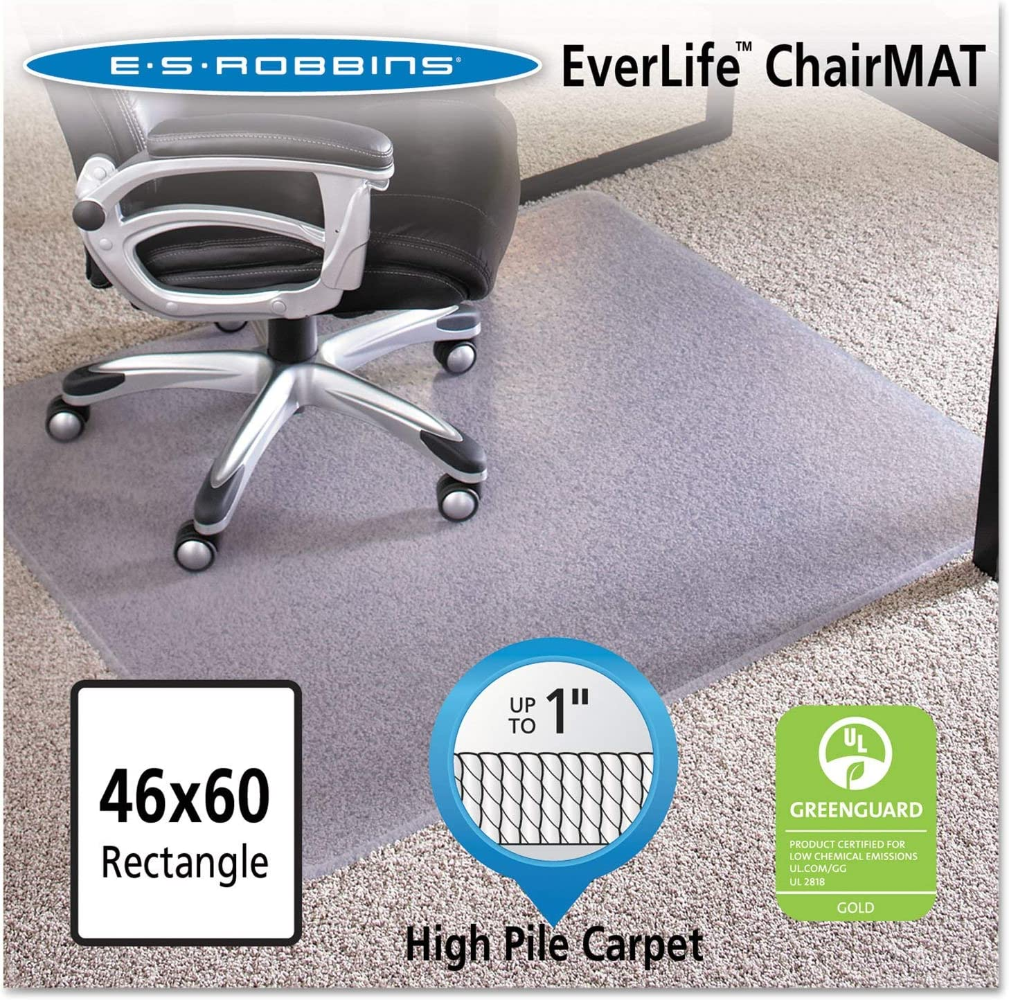 46×60 Rectangle Chair Mat, Performance Series AnchorBar for Carpet up to 1 Inch