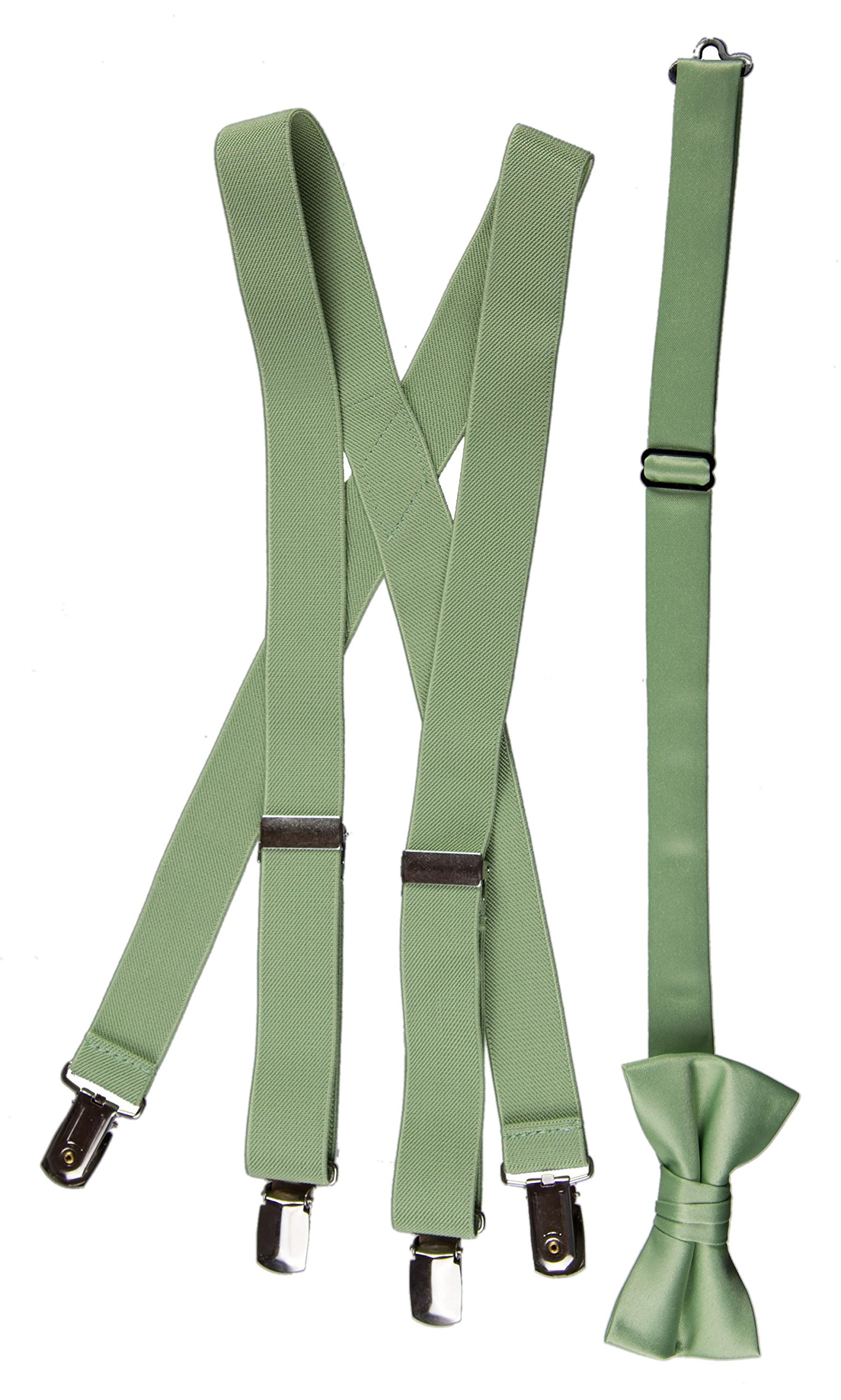Matching Adjustable Suspender and Bow Tie Sets in Toddler, Boys, Youth, and Adult Sizes (Sage Green, Boys 30'')