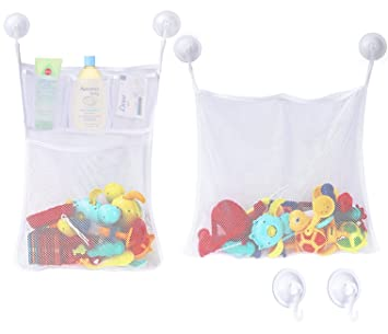for Kids /& Toddlers These Multi-use Net Bags Make Baby Bath Toy Storage Easy 2 x Mesh Bath Toy Organizer The Perfect Bathtub Toy Holder /& Bathroom or Shower Caddy 6 Ultra Strong Hooks