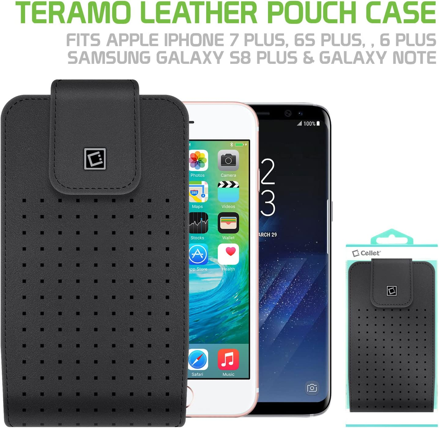 Cellet Teramo Leather Pouch with Heavy Duty Belt Clip 360 Degree Rotation Compatible for Apple iPhone Xs Max//8 Plus//7 Plus//6S Plus Samsung Note 9//8//5 Galaxy S9 Plus//S8 Plus and Large Size Smartphone